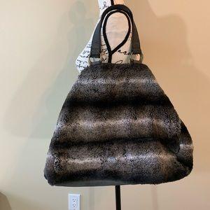 NWT Italian Faux Fur Boho Distressed Large Purse